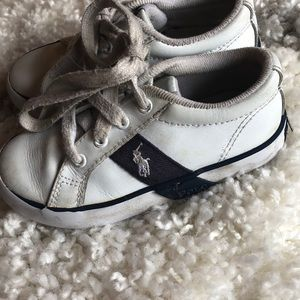 White and navy polo tennis shoes. Size 9